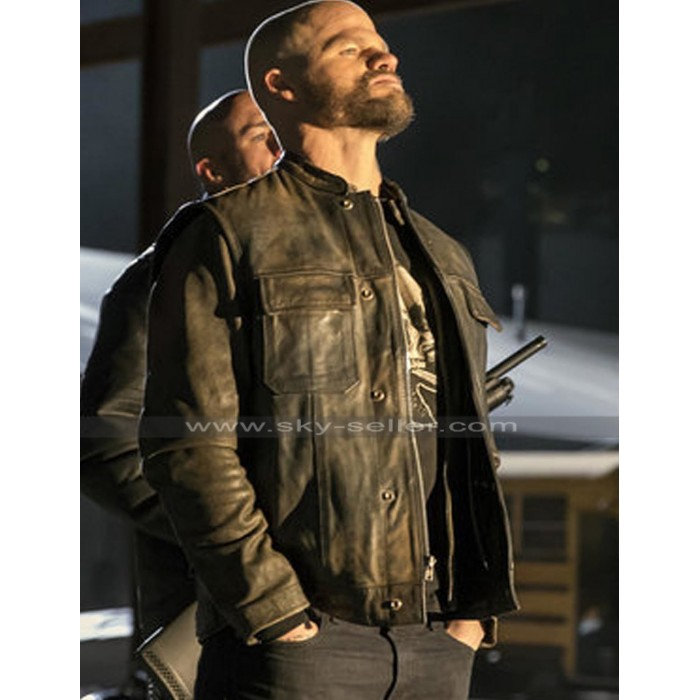Evan Jones Bosco Den of Thieves Distressed Brown Leather Jacket