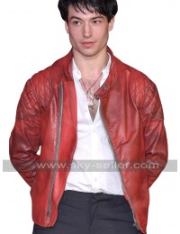 Ezra Miller Red Slimfit Quilted Biker Leather Jacket