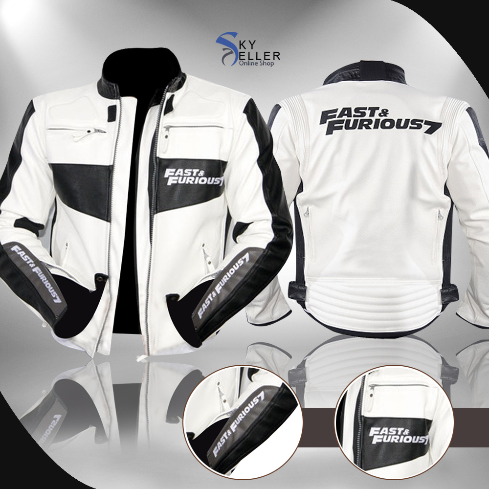 Fast and Furious 7 Premiere Vin Diesel White Leather Jacket