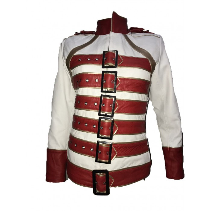 Womens Freddie Mercury Wembley Queen Tribute Belted Red White Leather Jacket