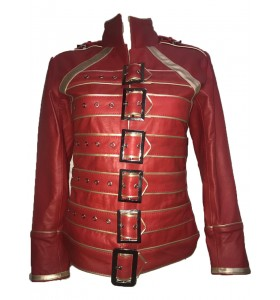 Womens Freddie Mercury Queen Tribute Concert Belted Biker Red Leather Jacket