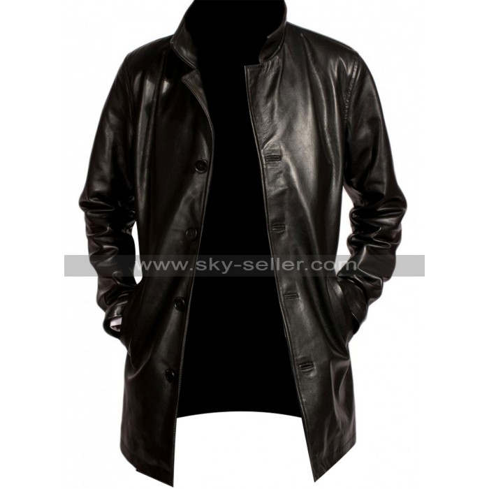 Fringe Joshua Jackson (Peter Bishop) Black Leather Coat