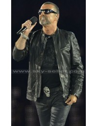 George Michael 2012 Olympics Wham Black Leather Jacket
