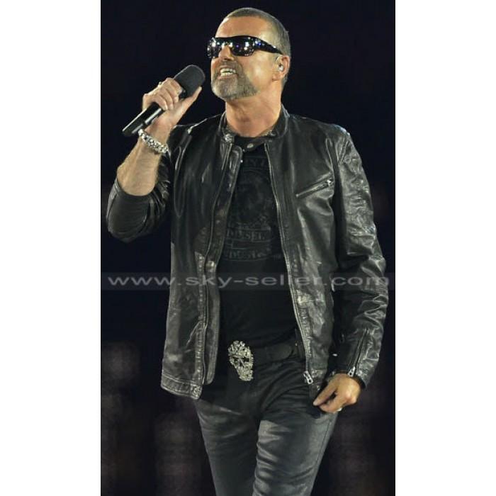 George Michael 2012 Olympics Wham Black Leather Jacket