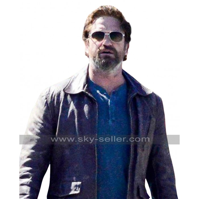 Gerard Butler Den of Thieves Distressed Brown Leather Jacket