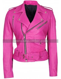 Jessica Alba Hot Pink Womens Biker Leather Jacket