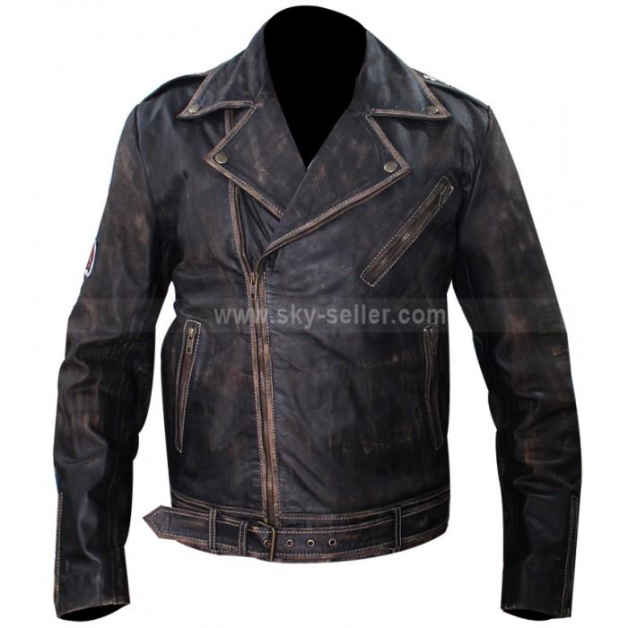 Johnny Depp Tokyo Green Distressed Motorcycle Jacket