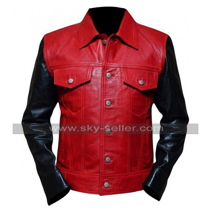 Justin Bieber Wetten Dass? Snazzy Show Red and Black Motorcycle Leather Jacket