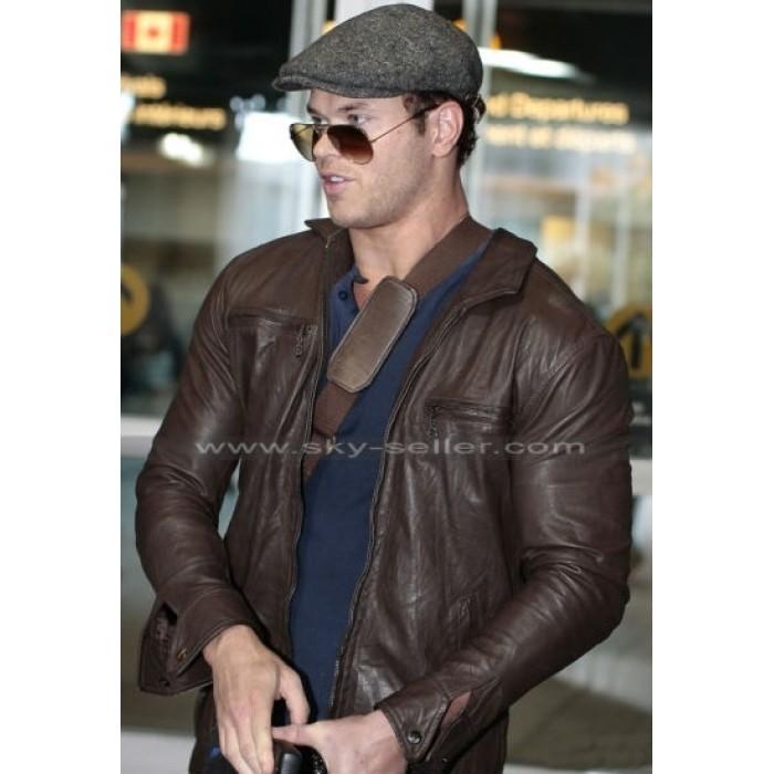 Kellan Lutz Chocolate Brown Slimfit Leather Jacket