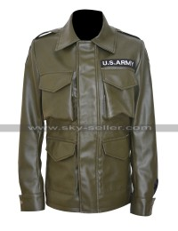 Kim Kardashian US Army Green Leather Jacket