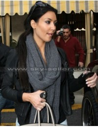 Kim Kardashian Black Asymmetrical Hollywood Jacket
