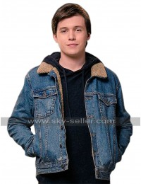 Love Simon Nick Robinson Fur Sherpa Denim Jacket