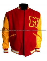 Michael Jackson M logo Letterman Red & Yellow Varsity Bomber Jacket