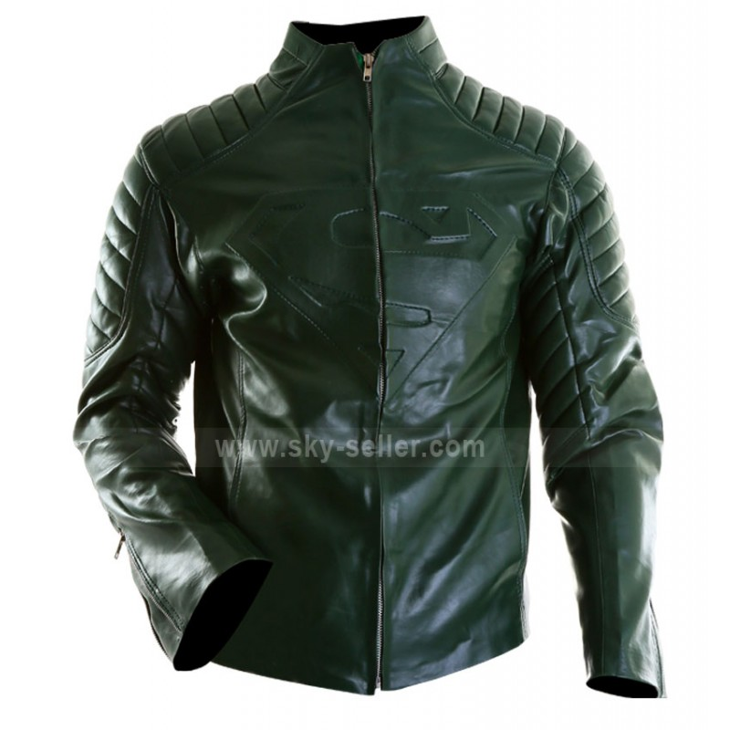 Superman Green Leather Jacket For Men
