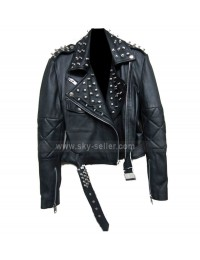 Nicole Richie Studded Black Leather Biker Jacket