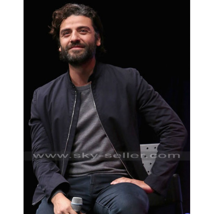 Oscar Isaac Star Wars 7 Force Awakens Navy Bomber Jacket