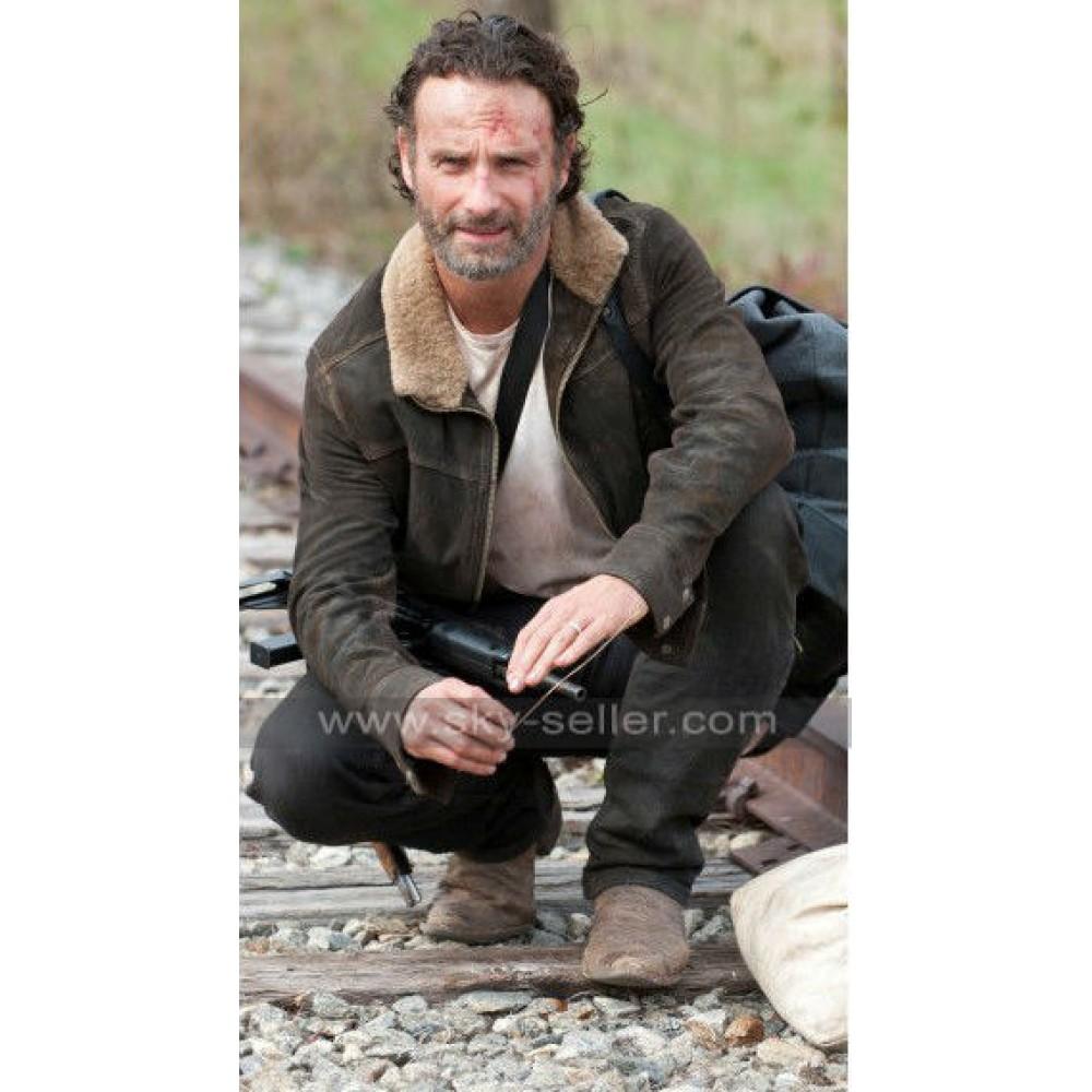 Rick Grimes Walking Dead Season 5 Fur Jacket