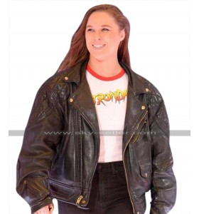 Ronda Rousey (Roddy Piper) Black Quilted Shoulders Leather Jacket
