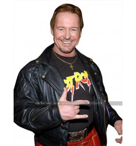 WWE Wrestler Roddy Piper (Rowdy) Quilted Shoulders Black Leather Jacket