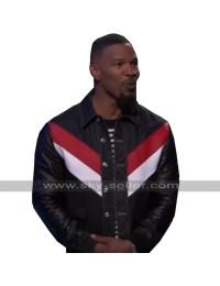 Jamie Foxx Beat Shazam Retro Striped Biker Black Motorcycle Leather Jacket