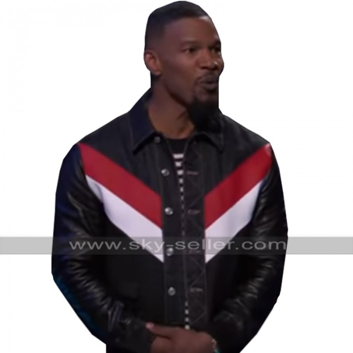 Jamie Foxx Beat Shazam Retro Striped Biker Black Motorcycle Leather Jacket
