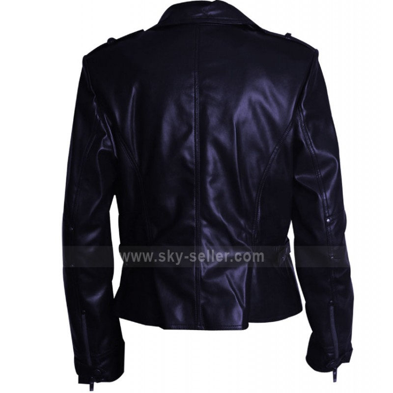 Fit Navy Blue Leather Women's Jacket