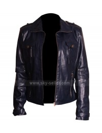 Slim Fit Navy Blue Leather Women's Jacket