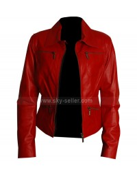 Slim Fit Red Womens Leather Biker Jacket