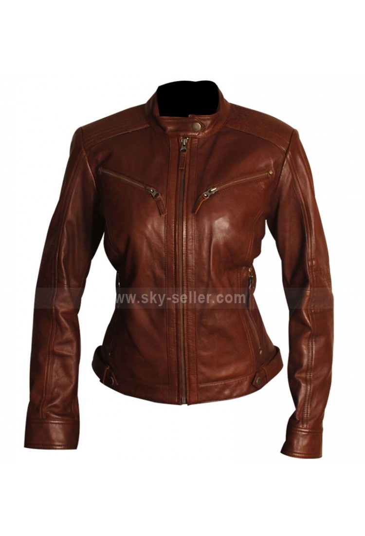 Brown Leather Motorcycle Jacket Women