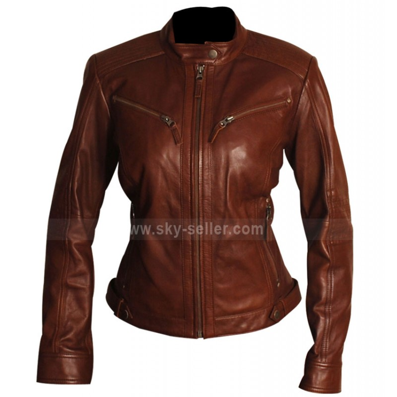 Fit Women Brown Body Fitted Motorcycle Leather Jacket