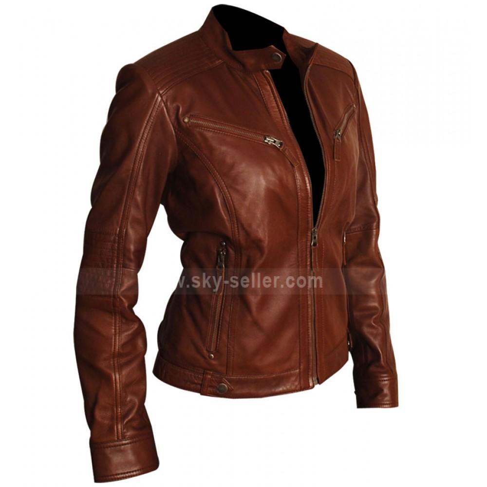Brown leather motorcycle jacket women
