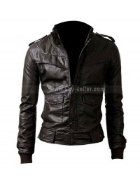 Slim Fit Black Rocker Genuine Leather Bomber Jacket