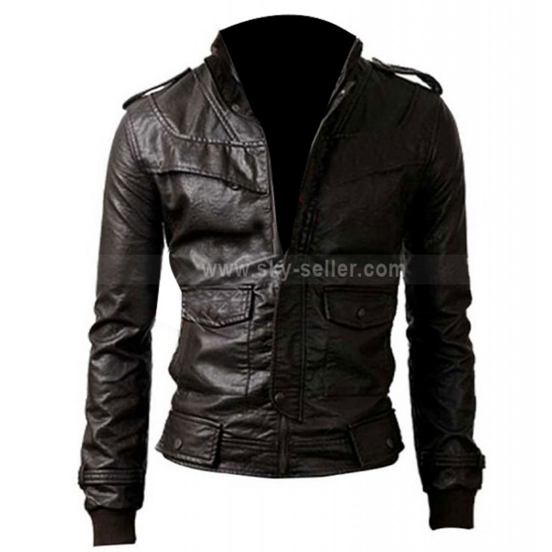 Fit Black Rocker Genuine Leather Bomber Jacket