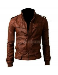 Slim Fit Motorcycle Brown Leather Jacket