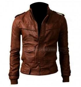 Slim Fit Motorcycle Brown Leather Jacket