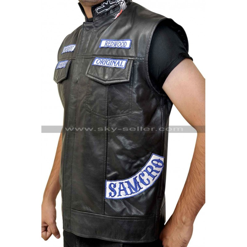 Biker Vest Patches >> Sons Of Anarchy Jax Teller Motorcycle Vest With Patches S7