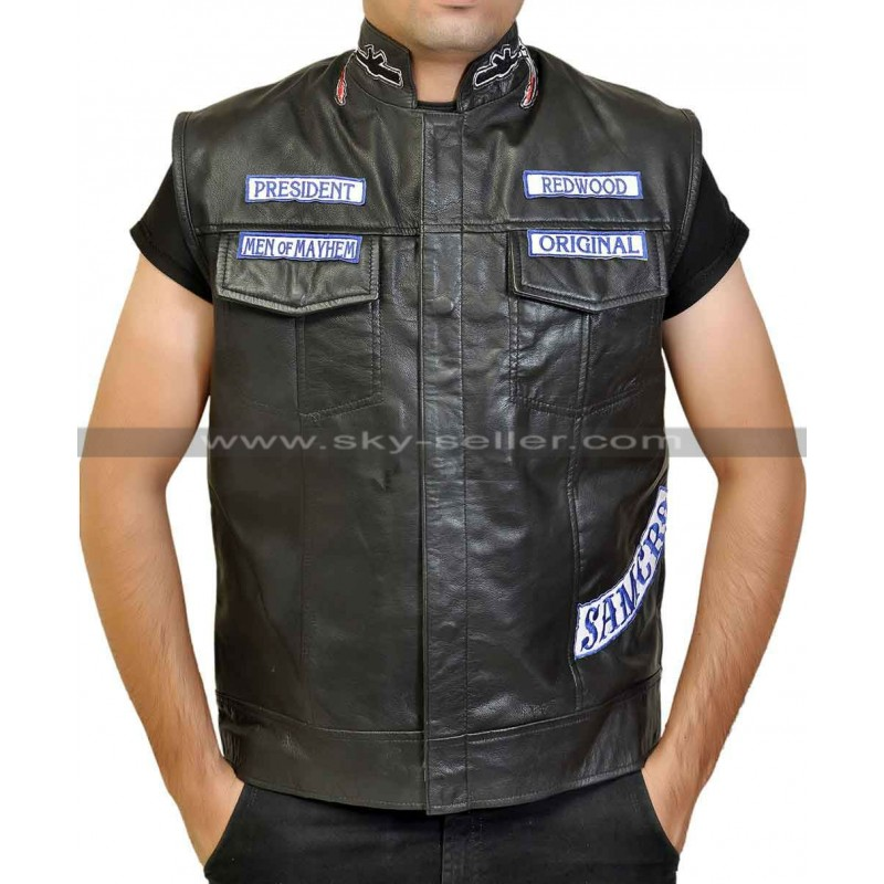 122708d97 Sons of Anarchy Jax Teller Motorcycle Vest With Patches S7