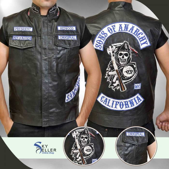 218d2e718 Sons of Anarchy Jax Teller Motorcycle Vest With Patches S7