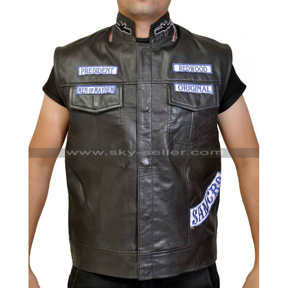 sons of anarchy jax teller motorcycle vest with patches s7. Black Bedroom Furniture Sets. Home Design Ideas