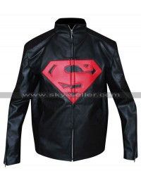 Superman Black Mens Leather Jacket