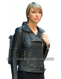 Womens New York Taylor Swift Black Biker Leather Jacket
