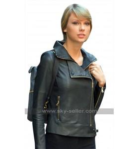 Womens New York Taylor Swift Black Biker Leather Jacket