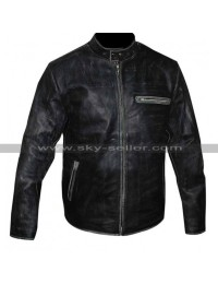 Tom Cruise Black Distressed Motorcycle Jacket