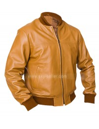 Vintage Camel Bomber Brown Leather Jacket
