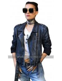 Natalie Portman Vox Lux Celeste Black Belted Biker Leather Jacket