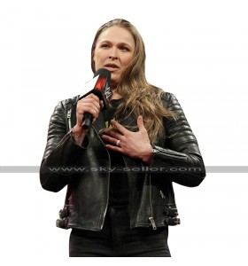 Ronda Rousey WWE Black Quilted Shoulders Biker Leather Jacket