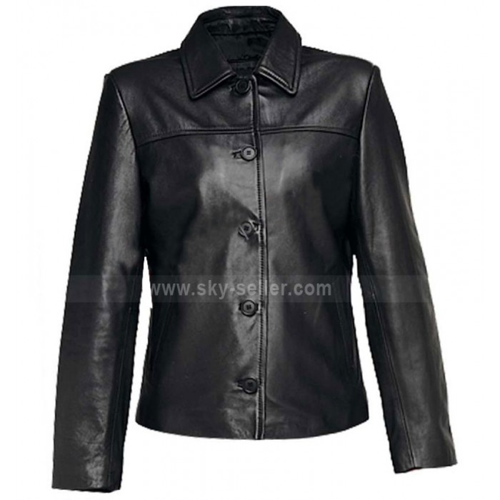 Women Black Leather Jacket With Buttons