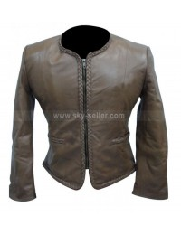 Women Body Fitted Stylish Motorcycle Grey Leather Jacket