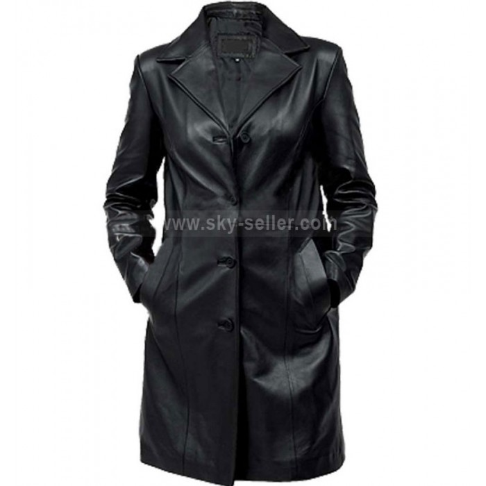 Women's Black Petite Leather Trench Coat