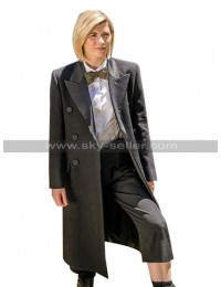 13th Doctor Who Jodie Whittaker Grey Wool Trench Coat